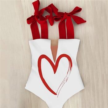 2021 New Sexy One Piece Swimsuit Shoulder Strappy Swimsuit Heart print Swimwear Women Backless Bathing Suit Beach Wear Monokini 3