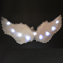 LED Glow Light Angel Feather Wing Fairy Wings Cosplay Props Wedding Party Drama Costume for Women Girls Carnival S M L