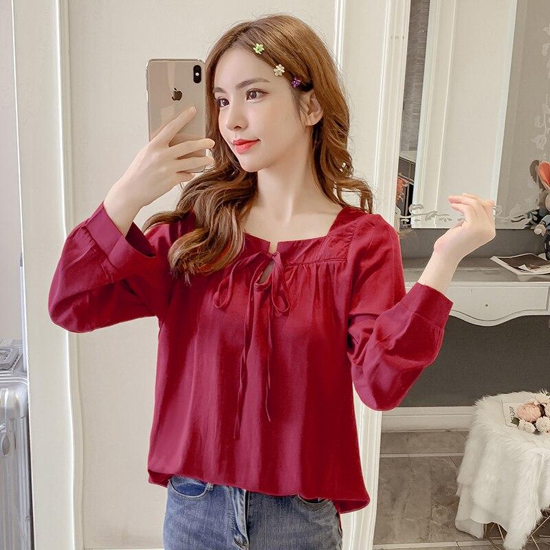 Nouveau automne Style coréen col carré femmes chemise en mousseline de soie sauvage à manches longues poupée dames chemise de fond