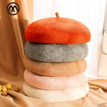 Женский шерстяной берет осенне зимняя теплая шапка Однотонный