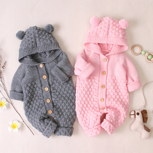 купить Baby Knitted Rompers 2019 Autumn Winter Long Sleeve Newborn Boys Girls Clothes Warm Jumpsuits Baby Onesie Overalls for children по цене 941.8 рублей