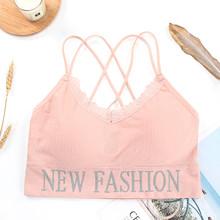 Nowa modna bluzka damska krótki Top bezszwowa bielizna damska krótki Top s seksowna bielizna Intimates moda z odpinanym wyściełanym tanie tanio Bieganie CN (pochodzenie) Polyester none Sports Bras Tarcie