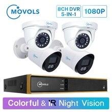 Movols 1080 p 8ch h.265 dvr sistema de cctv 2 pçs colorido & 2 pçs kit de câmera de segurança visão noturna ir ao ar livre conjunto de vigilância por vídeo