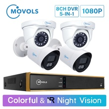 Movols 1080P 8CH H.265 DVR CCTV System 2PCS Colorful & 2PCS IR Night Vision Security Camera Kit Outdoor Video Surveillance Set