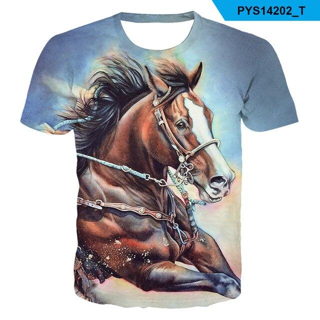 2021 Summer New kids boys O-neck Wearing a flower headband Horse T-shirt 3d Fashion T Shirt animal clothes Men Women Tshirt 4
