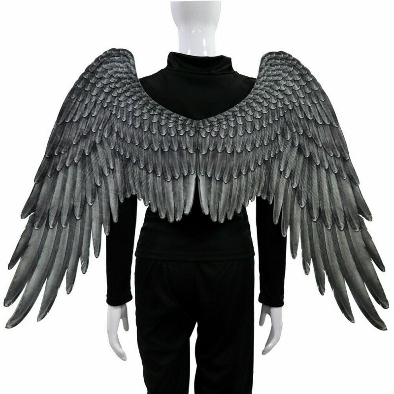 Halloween 3D Angel Wings Mardi Gras Theme Party Cosplay Wings For Children Adult Big Large Black Wings Devil Costume