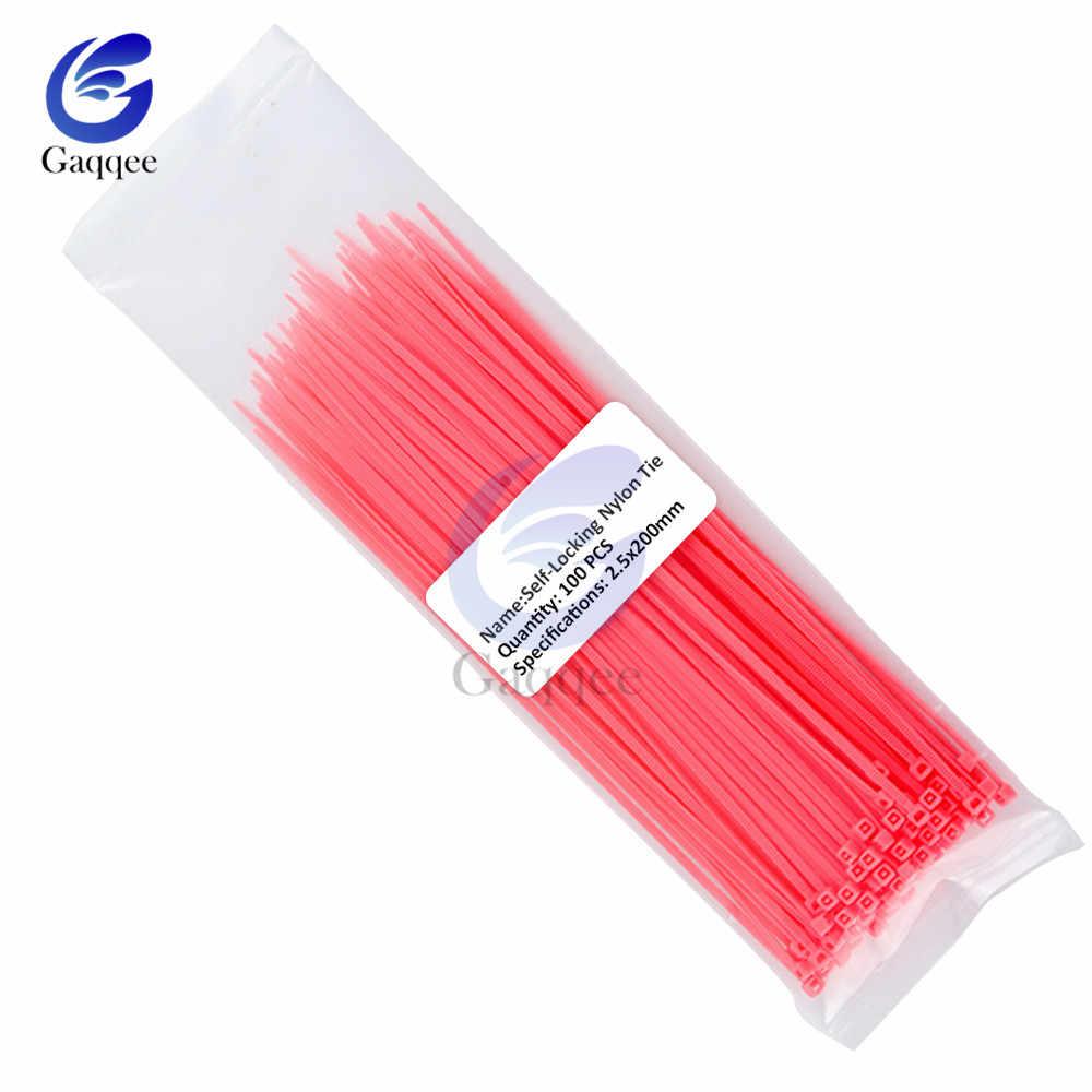 100Pcs 200 millimetri di Auto-Bloccaggio In Plastica Filo di Nylon Cavo Zip Ties Nero Rosso Blu Fascette Fissare Loop cavo 12 di Colore 2.5x200mm