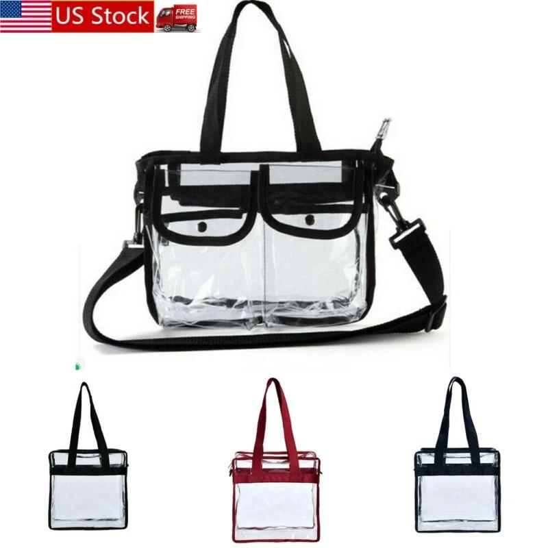 Clear Plastic Tote Bag Women Girl Transparent Handbag Zip Purse Stadium Security