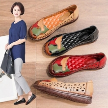Single Shoes Walking Breathable Hollow Casual Women's Summer Mom Anti-Odor New