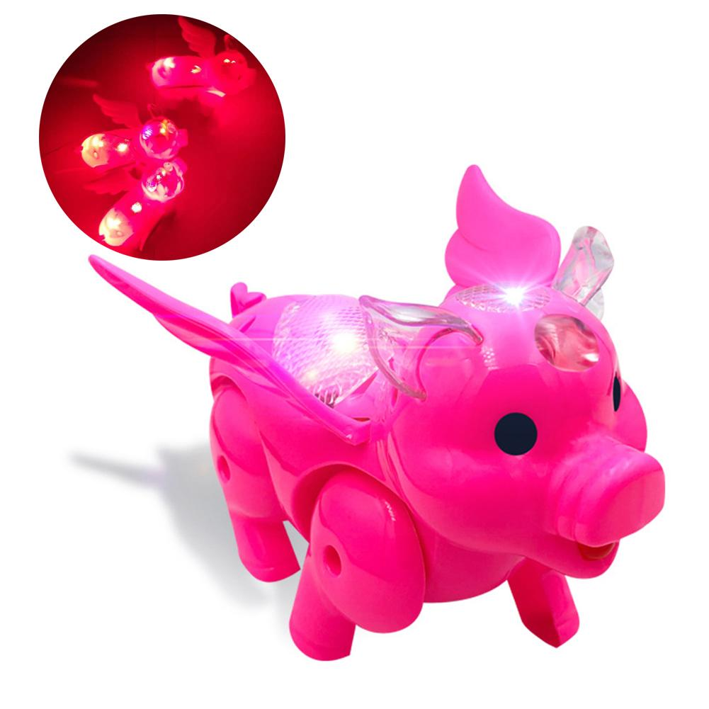 Electric LED Musical Wing Pig Walking Animal With Leash Kids Interactive Toy Kids Educational Toys For Children Gift