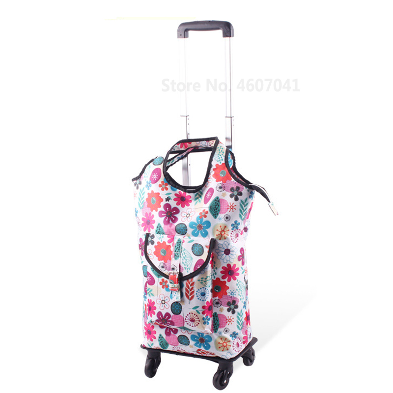 Съемная сумка-тележка для шоппинга, телескопическая складная корзина для покупок, сумка на колесиках из алюминиевого сплава, универсальная Тележка для покупок - Цвет: color3