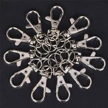 10 pçs chaveiro anel de metal giratória lagosta fecho clipes chaveiro chaveiro anel rachado diy saco jóias