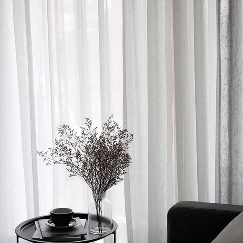 Solido Bianco Grigio Tulle Tende Della Finestra Per Soggiorno Camera Da Letto Moderna Organza Voile Tende Finito Sheer Tende A Pannello