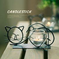 Creative Retro Candlestick Romantic Wrought Iron Cat European Candle Holder Halloween Candle Velas Decorativas Home Party 50X027