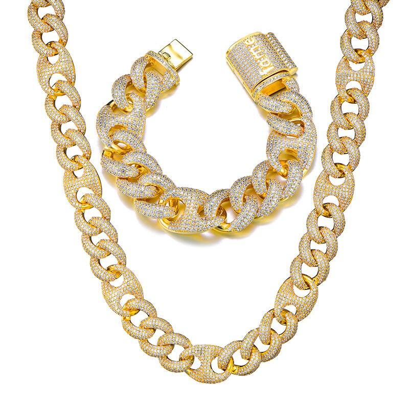 18MM ensemble Bling AAA CZ cubique zircone glacé boîte fermoir luxe cubain lien chaîne collier pour hommes rappeur Hip Hop bijoux 18''24''