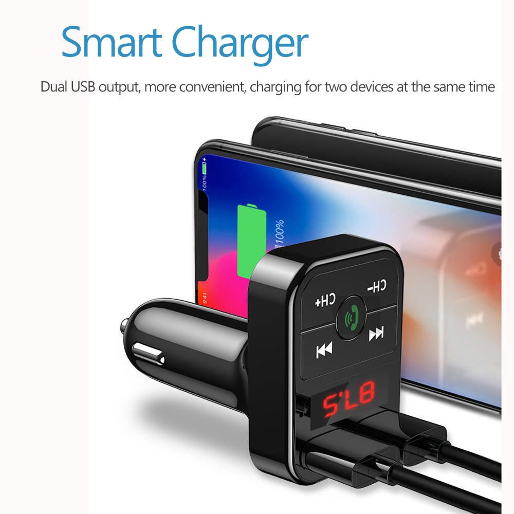 Car Bluetooth with Mp3 Player FM Transmitter Audio Receiver  Dual USB Fast Charger  4