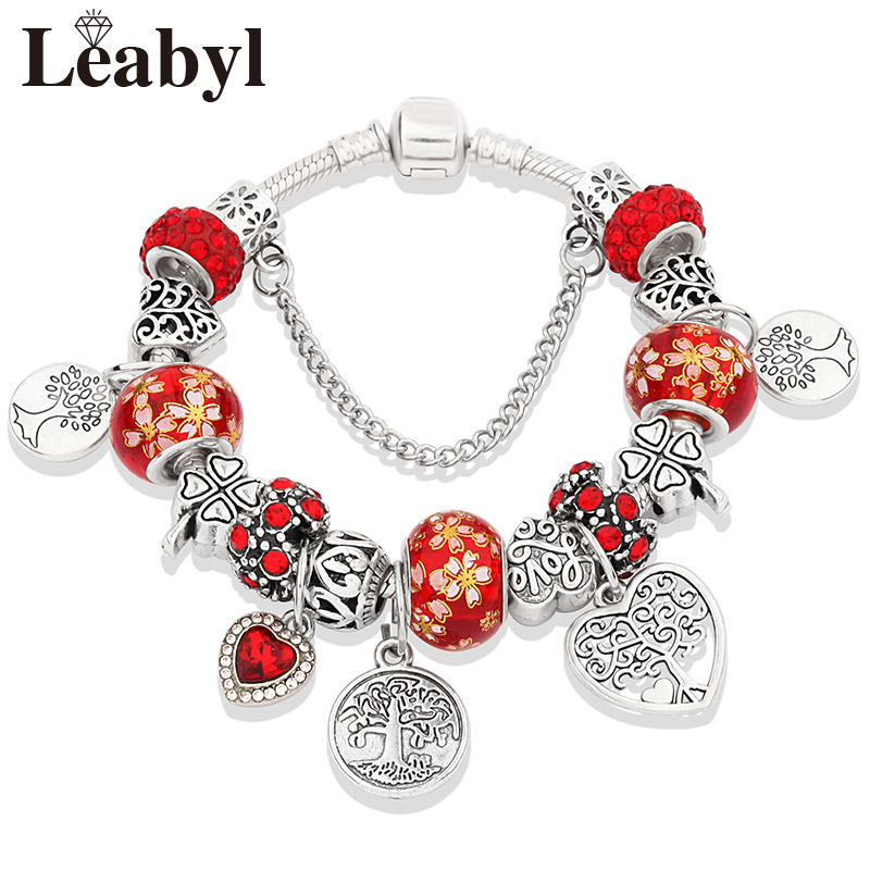 Dropshipping HOT Silver Tree of Life Fashion Bead Bracelet Green Leaf Floral Crystal Charms Bracelet & Bangle Pulsera Jewelry 4