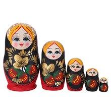 5/10 schichten Casual Russische Puppen Handgemachte Gemalt Holz Matryoshka Babuschka Puppen Cartoon Mädchen Handwerk Decor