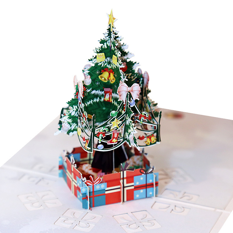 3D Pop UP Cards Christmas Tree Gift Postcard With Envelope Stickers Christmas Greeting Cards Christmas Greeting Cards