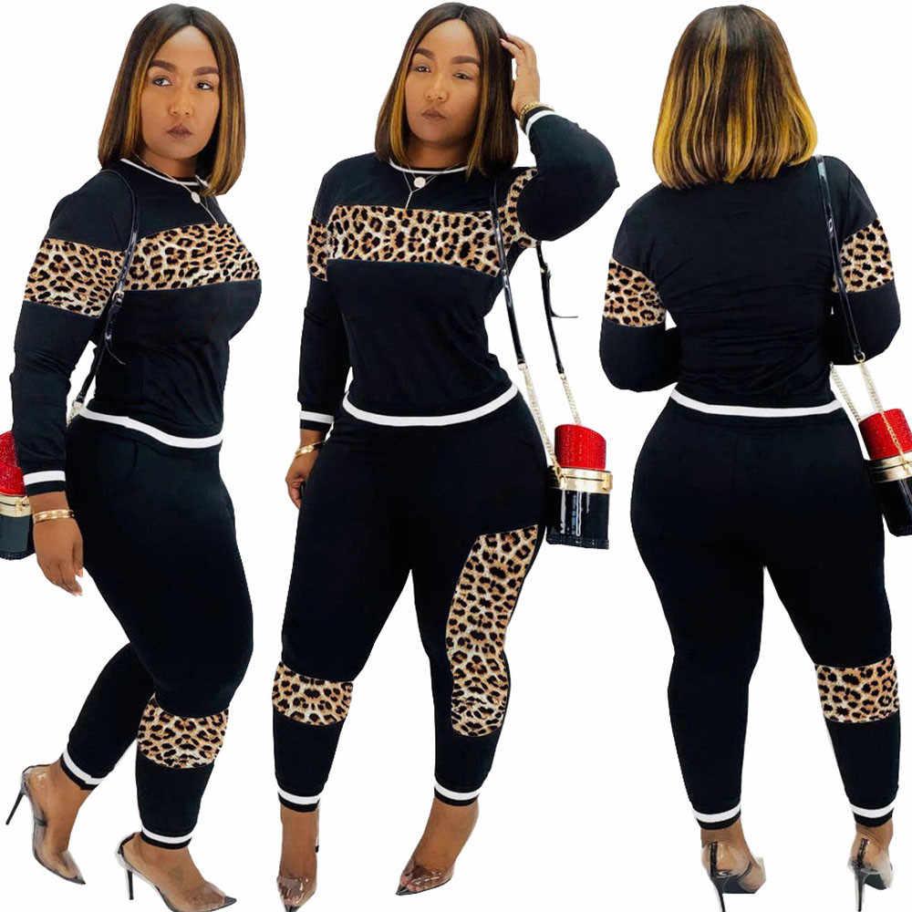 2020 leopar kamuflaj iki adet Set kadın spor elbise uzun kollu kazak ve Sweatpants rahat eşofman koşu Femme