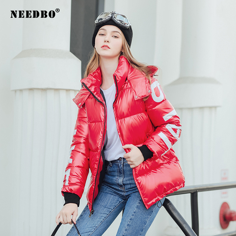 NEEDBO Women's Down Jacket Hood Down Coat Women Jacket Plus Size Parka Winter Puffer Jacket Coat Warm Oversize Lady Down Jackets