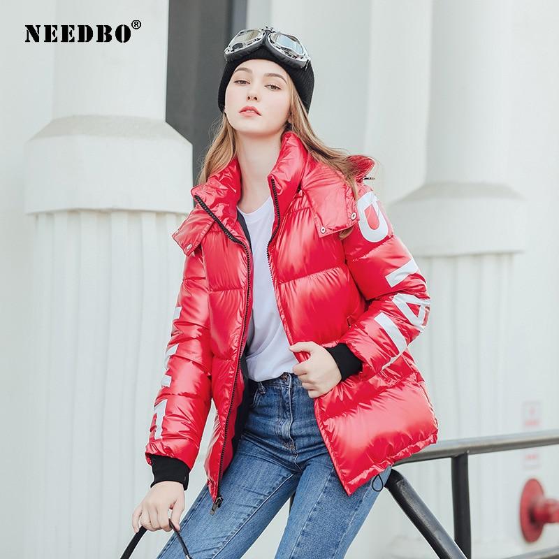 NEEDBO Women's Down Jacket Hood Down Coat Women Jacket Plus Size Parka Winter Puffer Jacket Coat Warm Oversize Lady Down Jackets