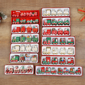 Wooden Little Train Christmas Decorations for Home DIY Wood craft Painted Train Santa Kids Toys New Year kids gift Ornaments