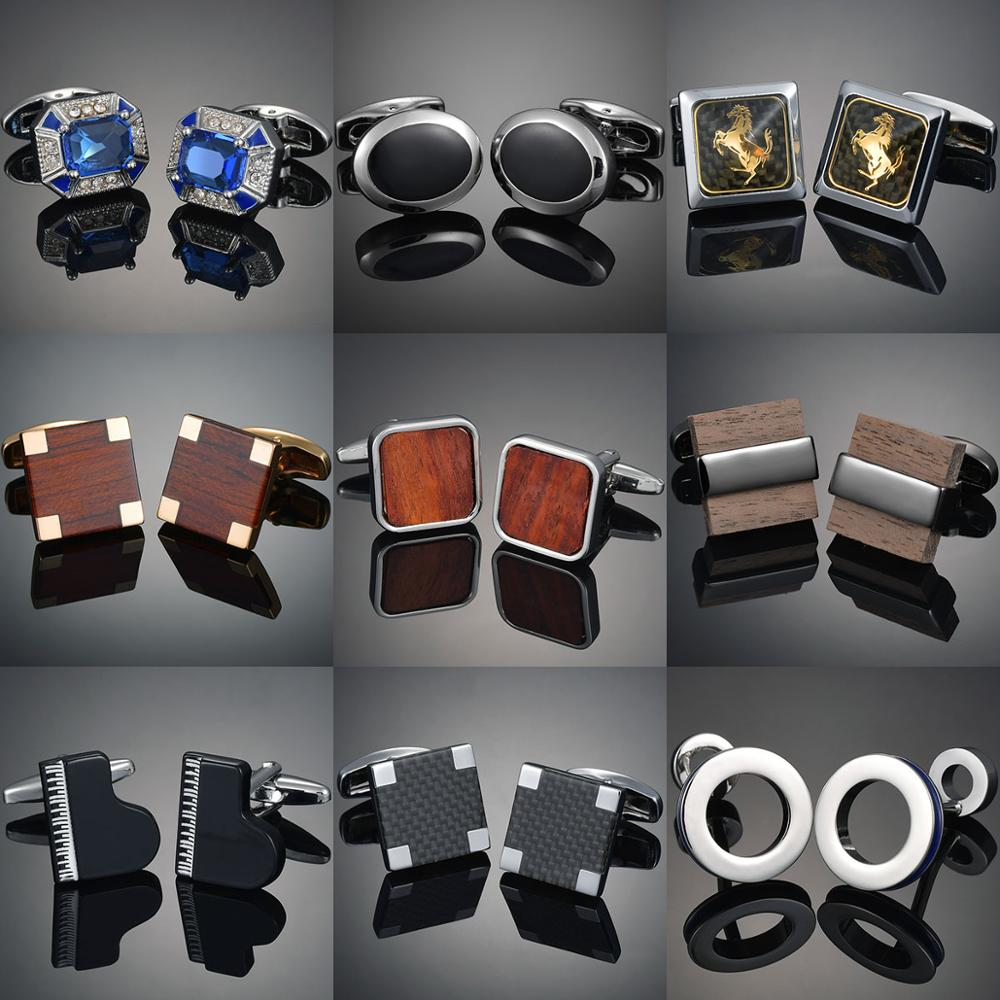 French Shirt Cufflinks For Mens Copper Wooden/Carbon Fibre/Chess/Horse/Earth Classic Cuff Links Personalized Gifts Unisex