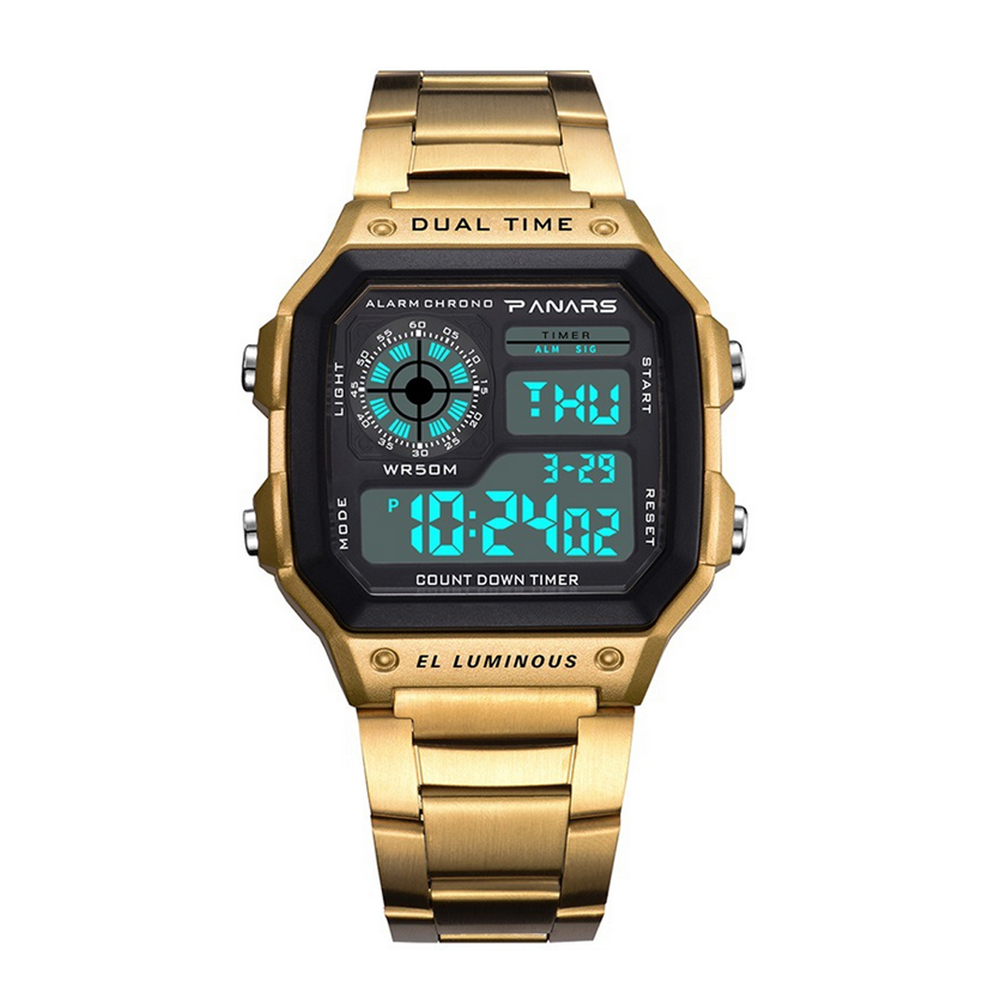 Fashion Men LED Square Dial Steel Linked Strap Waterproof Digital Wrist Watch Mas-culino Fashion Men's Watch Large Dial Military