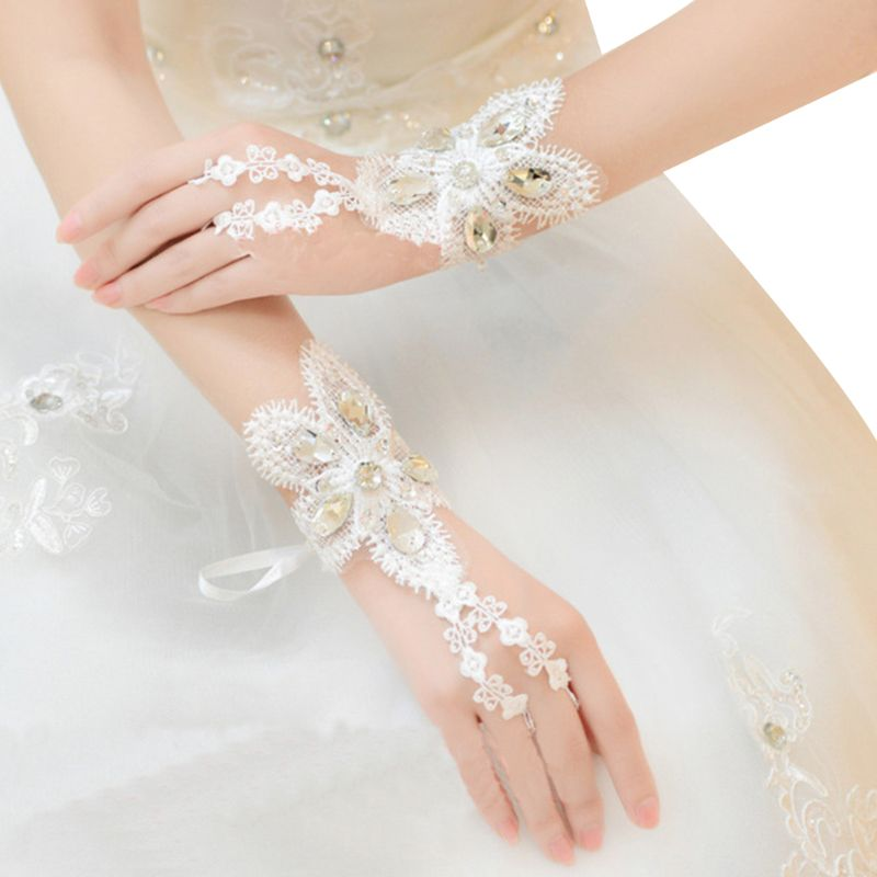 Crystal lace BRIDAL glove WEDDING PROM PARTY COSTUME LONG GLOVES Fingerless