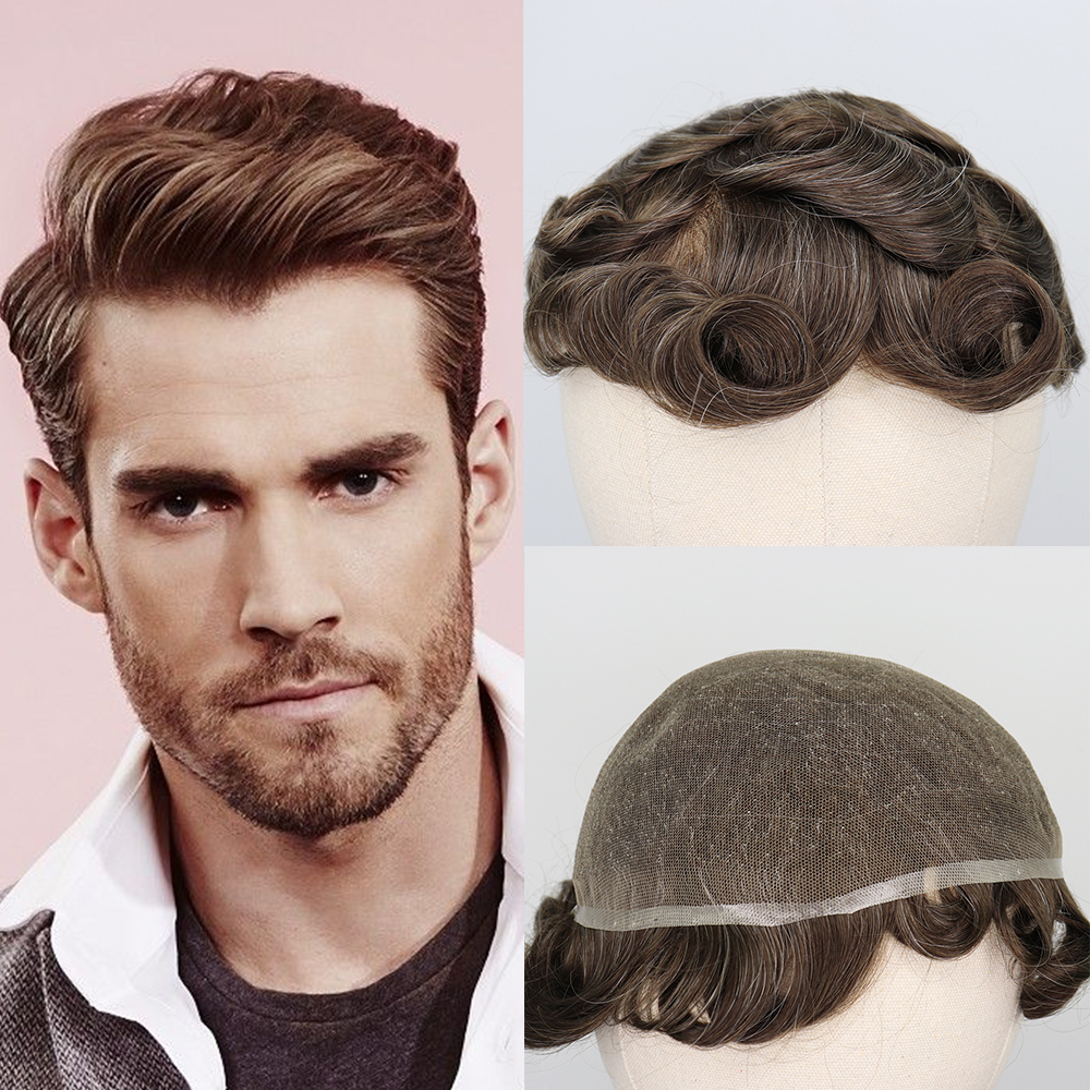 YY Wigs #7 20% Grey Human Hair Toupee for Men Remy Hair Replacement System Full Swiss Lace Toupee 6 Inch Curly Hairpieces