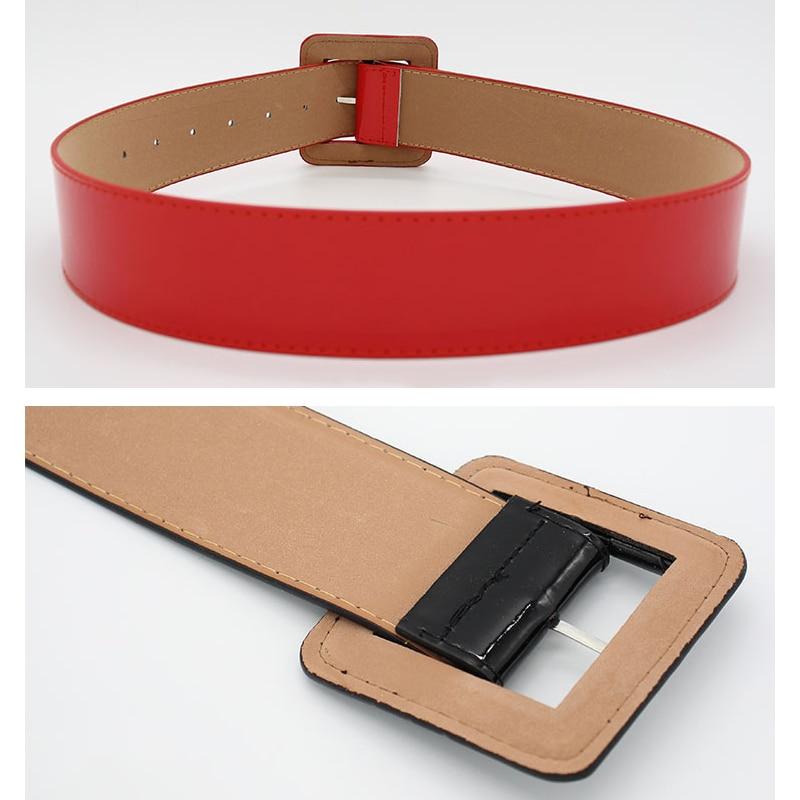 Plus Size Wide Patent Leather Fashion Belt Beige