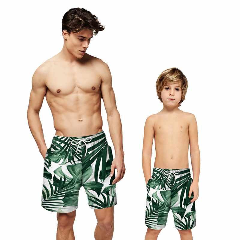Calções de praia dos pais-criança calções de praia dos homens de verão de secagem rápida impressão 3d calções de briefs família roupas pai filho troncos de natação