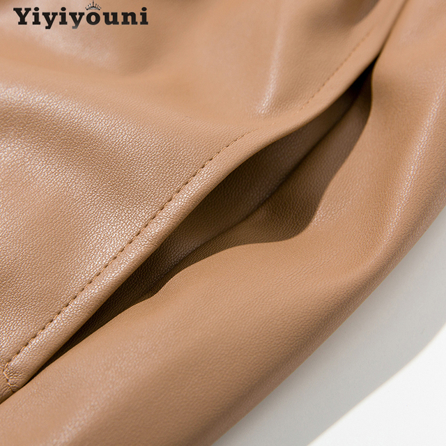 Yiyiyouni High Waist Spliced Leather Pants Women Loose Drawstring PU Leather Trousers Women Autumn Solid Straight Pants Female 6