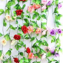 Vigne de Rose 250CM, accessoires de décoration de maison, plantes artificielles, décor de salle esthétique, Mur suspendu en Rotin