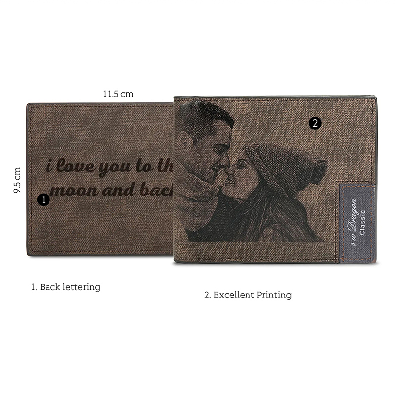 Custom Picture Engraved Inscription Leather Wallet Gift - Gifts For Him