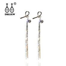 DREJEW Korean Long Tassel Statement Dangle Earrings 2019 Gold Rhinestone 925 Drop Sets for Women Wedding Jewelry HE7921