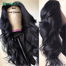 Virgo Body Wave 4x4 Lace Closure Wigs Peruvian Human Hair Wigs for Black Women with Baby Hair 150% Density Remy 10-26 inch(China)