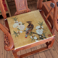 Vintage Flower Birds Horse Crane Sofa Chair Seat Cushion Chinese Dining Chair Armchair Seat Pad Linen Home Office Cushions Seats