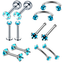 12 Pcs Sets Stainless Steel Anti Allergy Personality Nose Stud Hoop Nostril Ring Ear Studs Labret Zircon Body Piercing