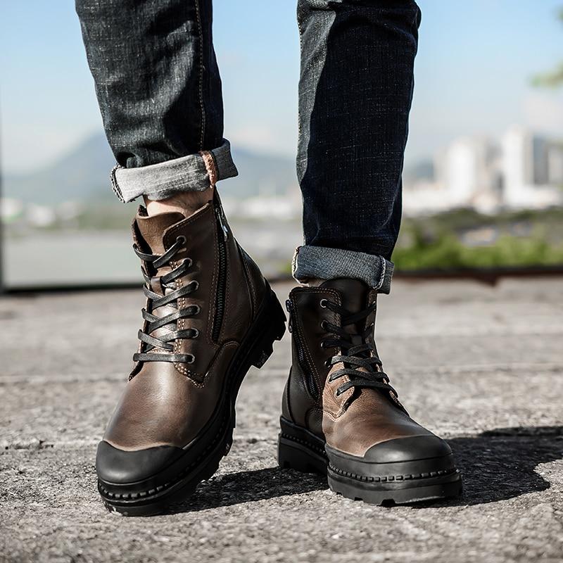 2019 Genuine Cow Leather Boots Men Snow Handmade Warm Men Shoes Winter Boots #SB9550