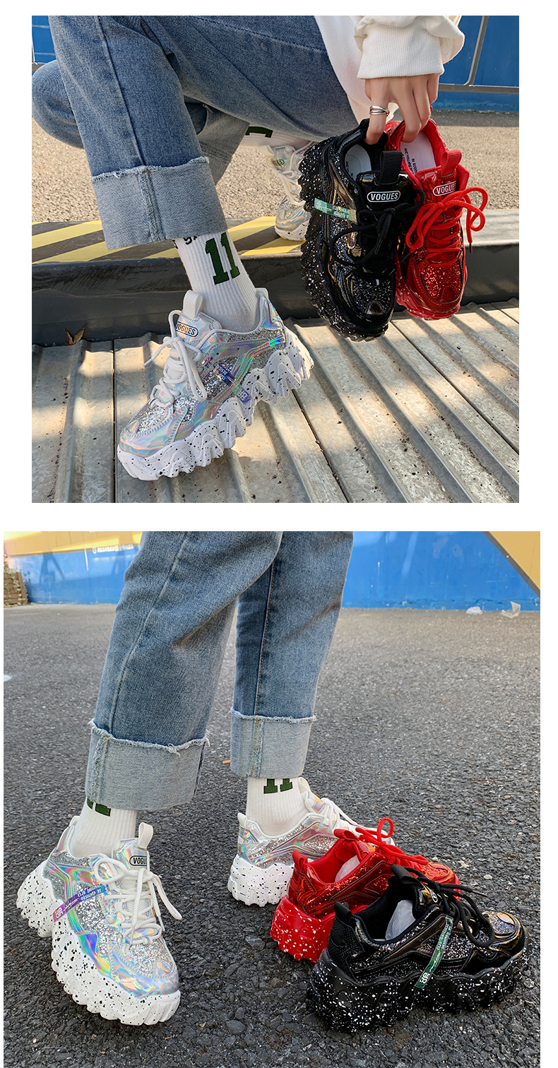 H83dacc79d37442beb6a4bf1532b115a0B - Sneakers Women Spring Fashion Sequined Cloth Bling Breathable Round Toe Leisure Chunky Women Shoes Tenis Feminino TUINANLE