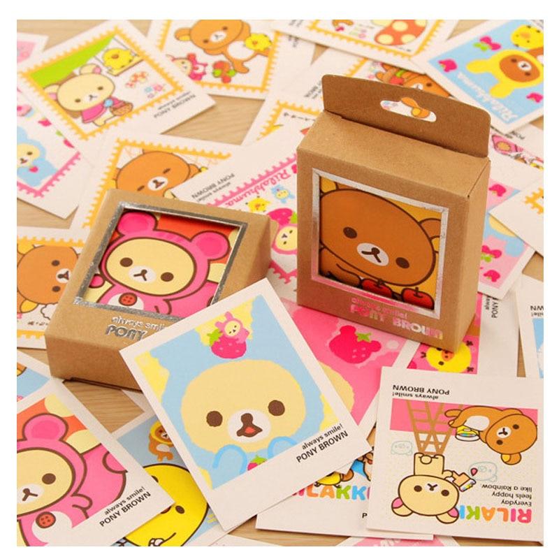 40 Pcs/pack Mini Rilakkuma Greeting Card Postcard Birthday Gift Card Set Message Card Letter Envelope Gift Card