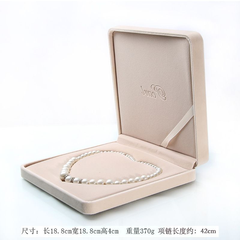 big size velvet jewelry box long pearl necklace box gift box heart shape inside with word 'pearl'on the box