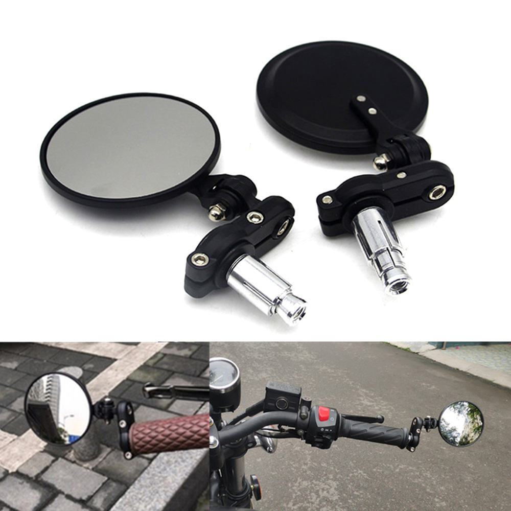 "1 Pair Round 7/8"" Handlebar Motocycle Rearview Mirrors Moto End Motor Side Mirrors Motorcycle Racer Mirror Accessories"