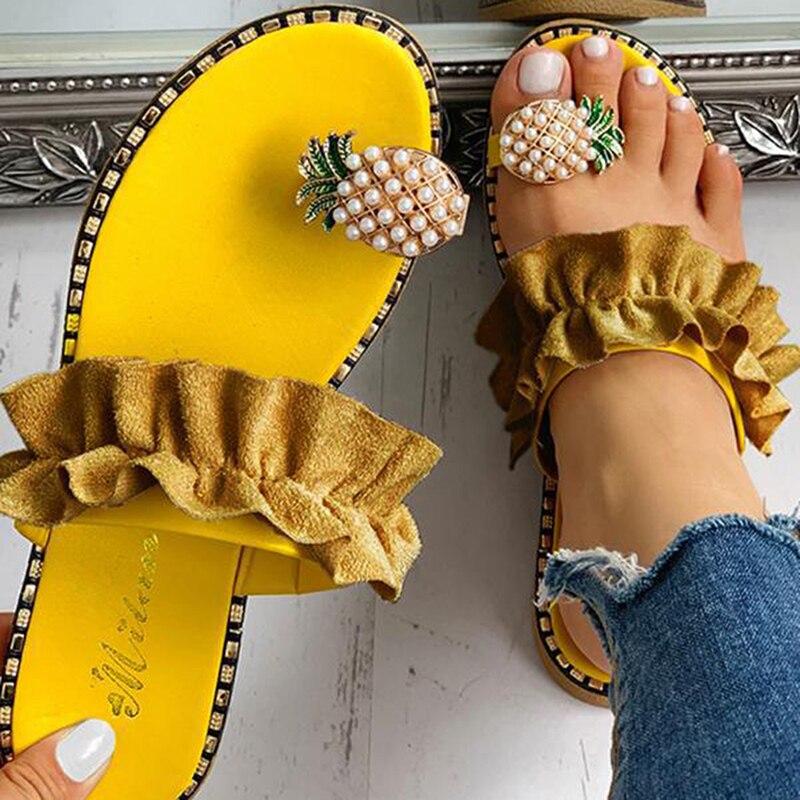 Богемные тапочки с жемчужинами и оборками; женская обувь; летние пляжные шлепанцы; женские сандалии на плоской подошве; шлепанцы с
