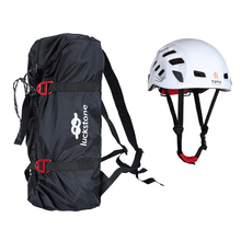 Mountain Rock Climbing Rope Bag & Ground Sheet, Buckles, Carry Straps + Safety Protection Helmet – Choice of Color