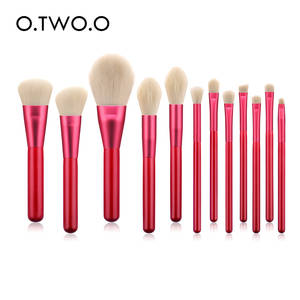 O.TWO.O 12pcs Red Brushes Set Soft Synthetic Hair Wooden Handle With Foundation Blusher Contouring Eyes Makeup Brush Kit