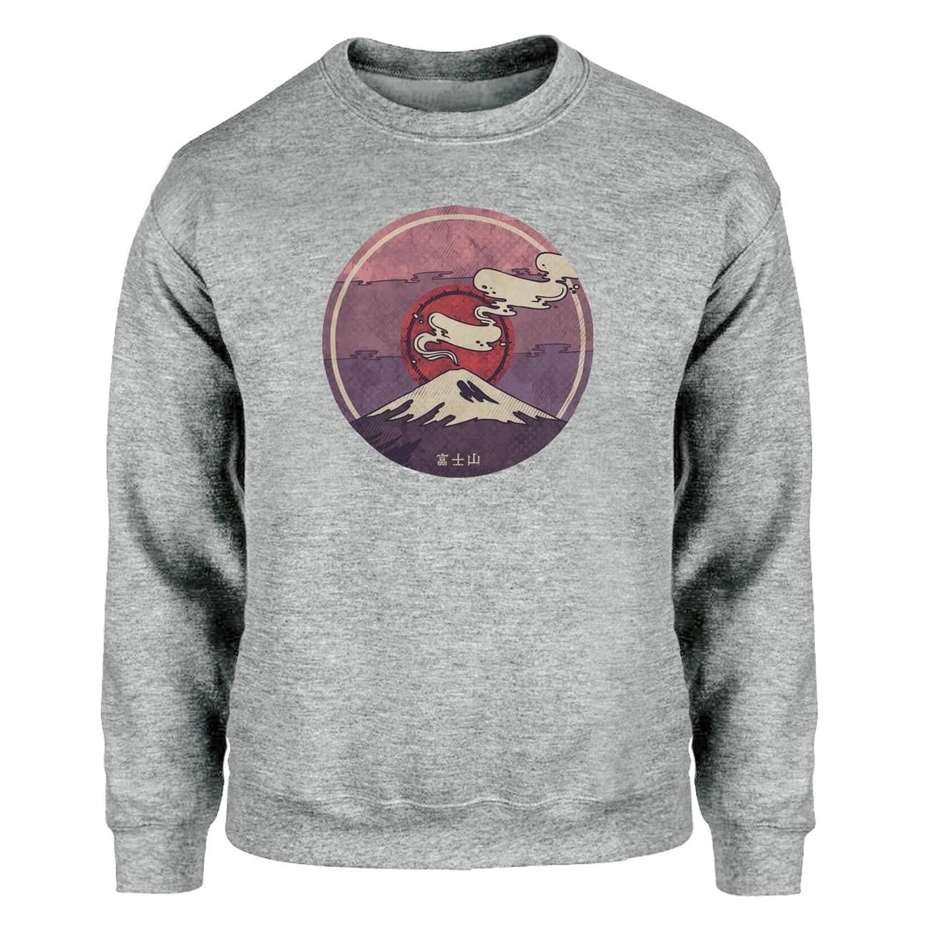 Mount Fuji Hoodies Sweatshirt Men Japan Crewneck Sweatshirts Hipster Winter Autumn Fleece Warm Streetwear Print Loose Sportswear