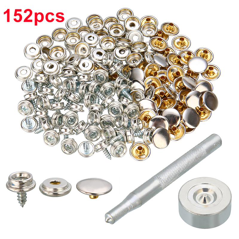 152pcs Set Screw Boat Marine Repair Canvas Fixed Fabric Fastener Awning Snap Furnifure Button Rivet Stainless Steel Boat Parts